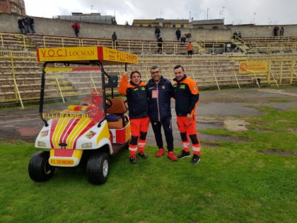 Selfaip in campo con l'U.S. Catanzaro – Cart ambulanza
